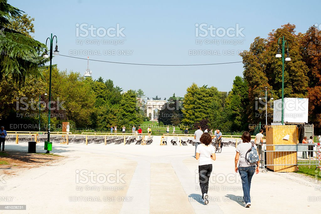 Walking in Parco Sempione stock photo