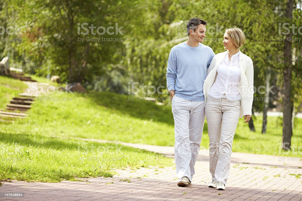 Walking in park royalty-free stock photo