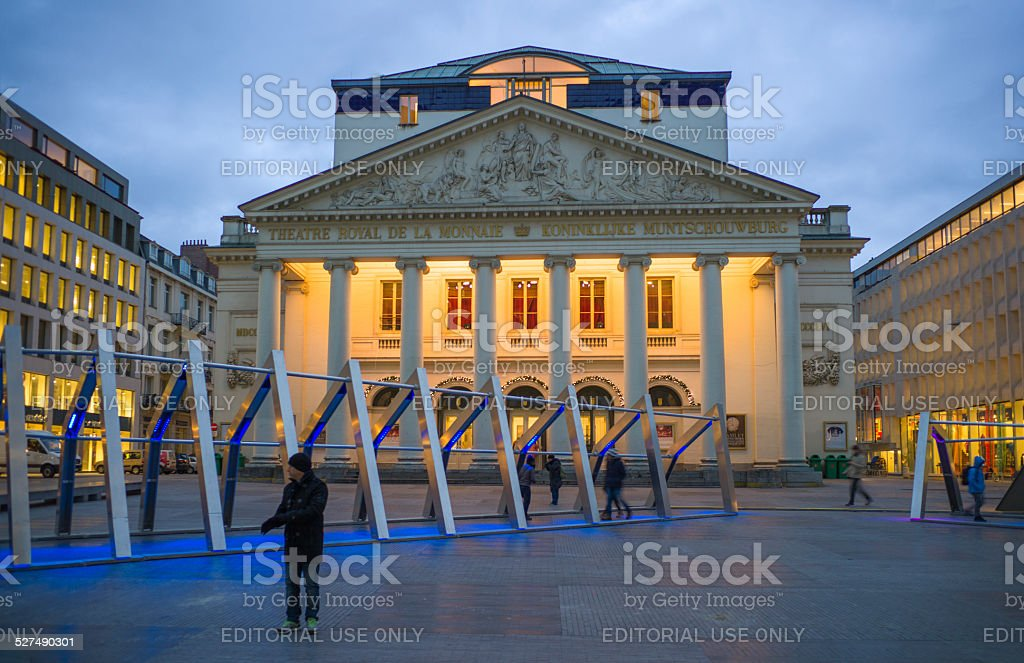 walking in Royal theatre of the mint at brussel belgium stock photo