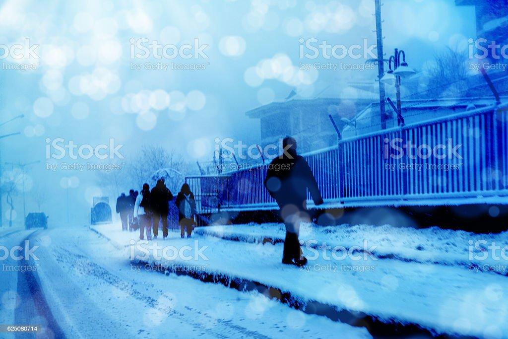 walking in snow stock photo