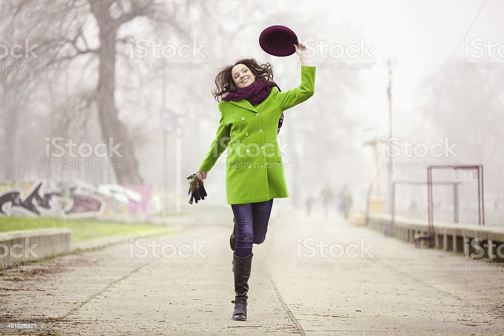 Walking in the Foggy Winter Day stock photo