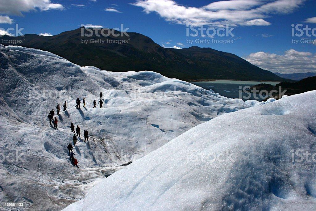 walking in the glacier stock photo