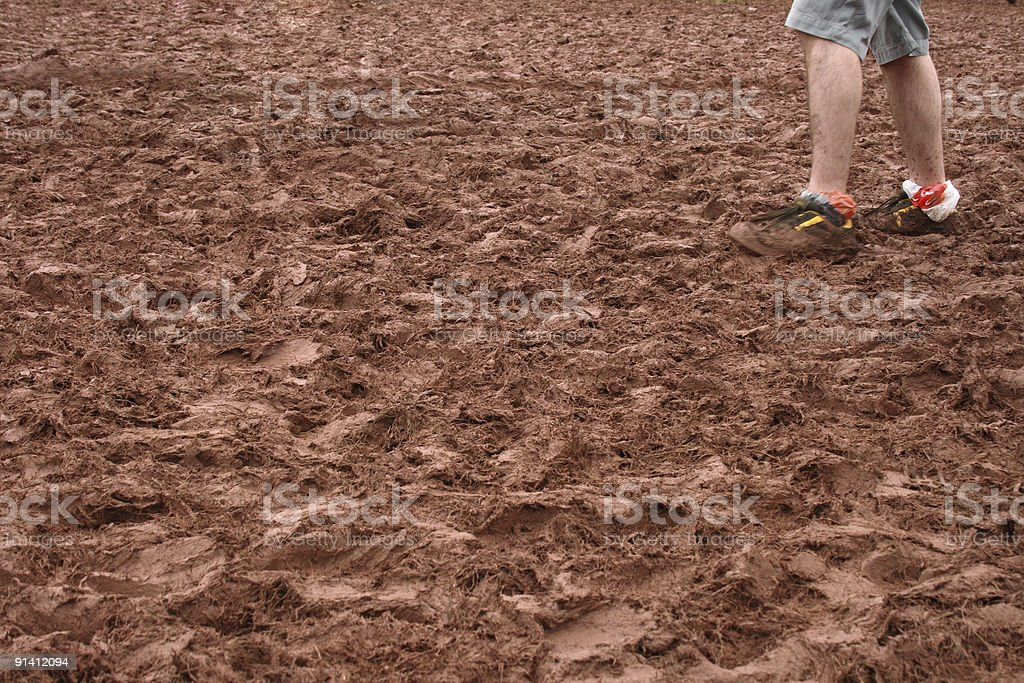 Walking in the mud stock photo