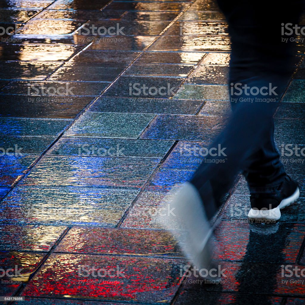 Walking in the neon lights stock photo