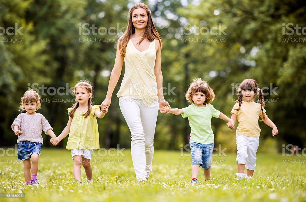 Walking in the park. stock photo