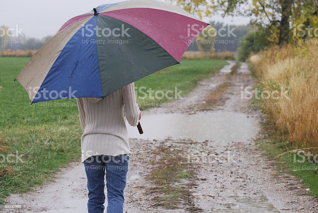 Walking in the Rain royalty-free stock photo