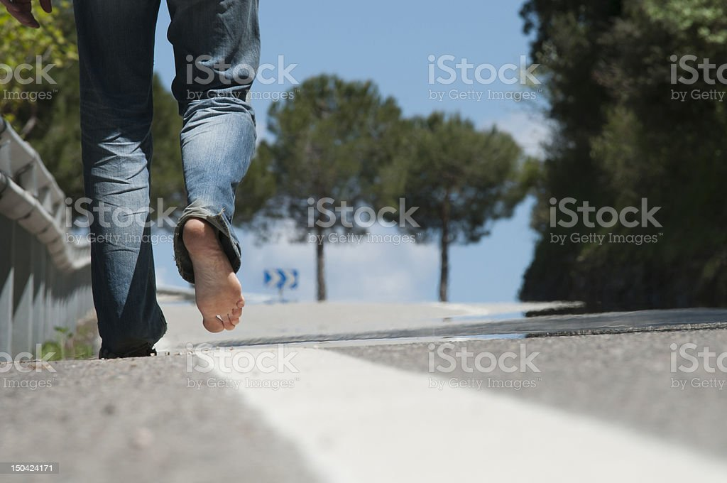 Walking in the road stock photo