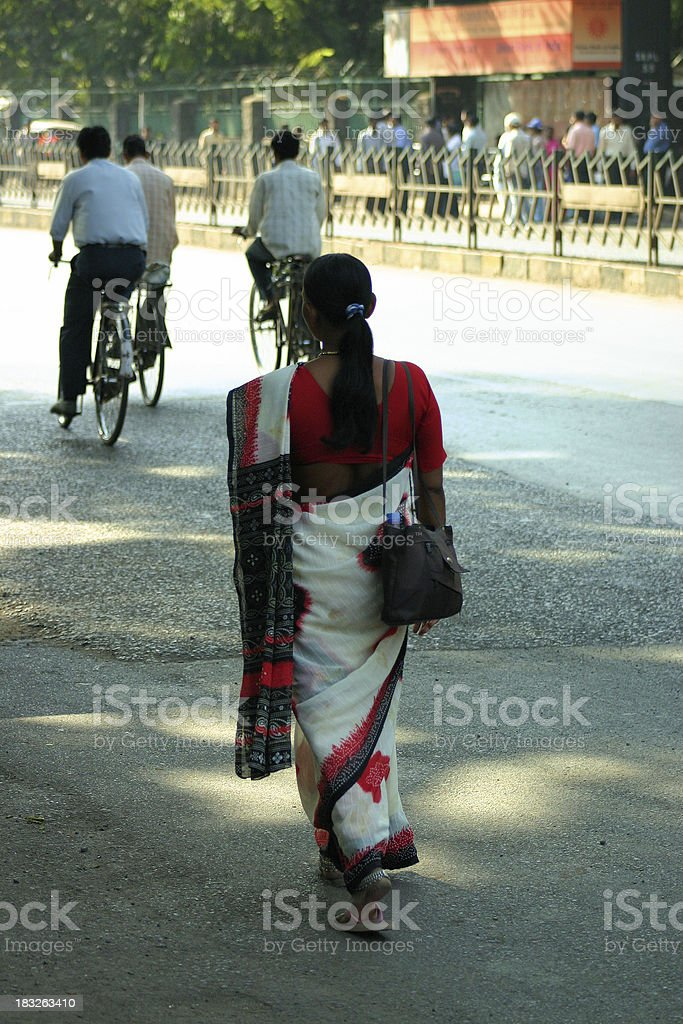 Walking in the streets of India stock photo