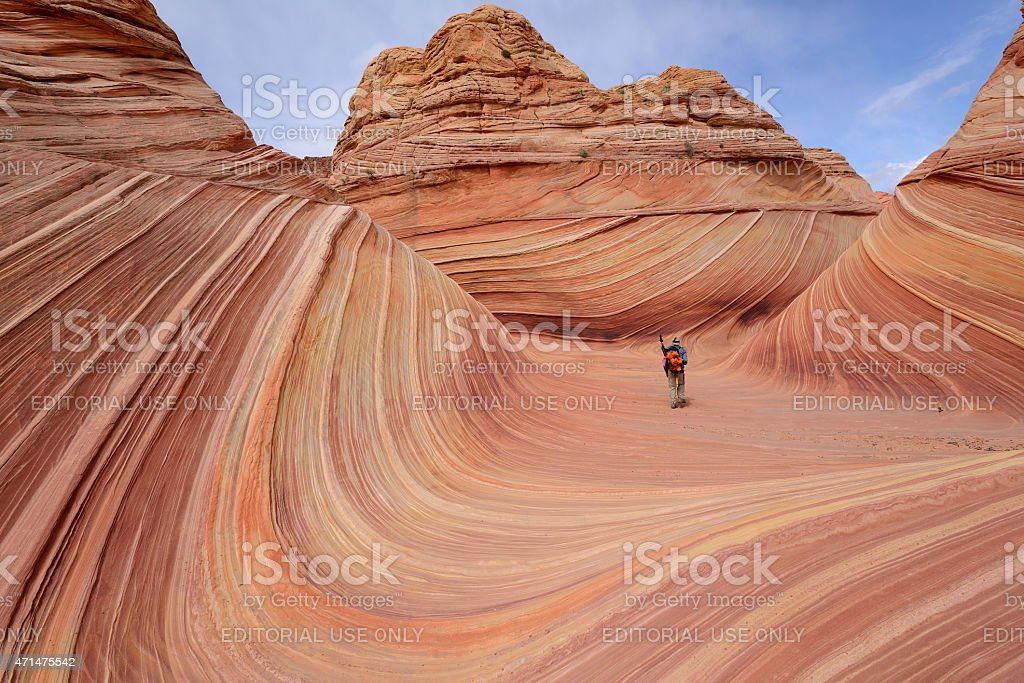 Walking in 'The Wave' stock photo