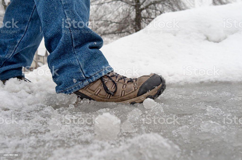 walking in winter slush and snow stock photo