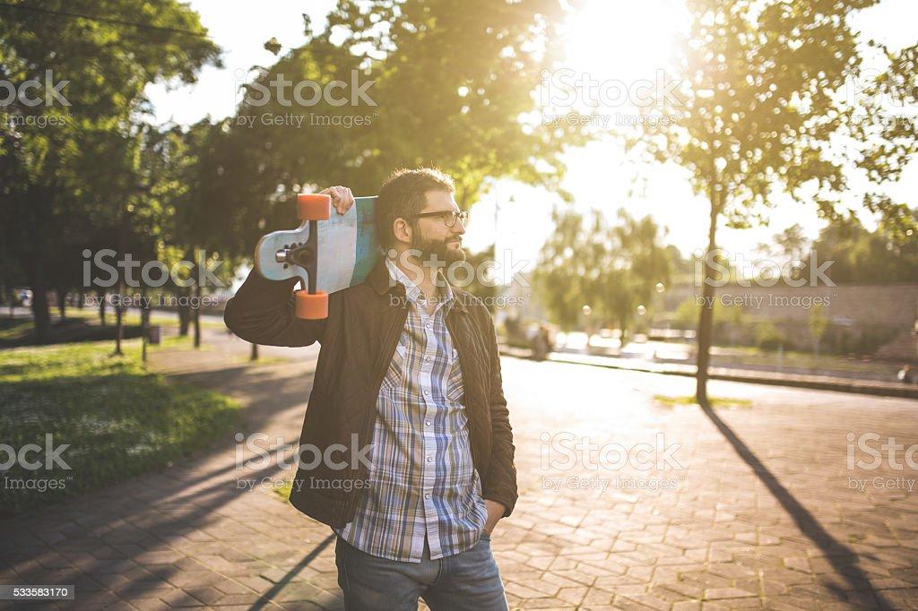 Walking leisurely stock photo