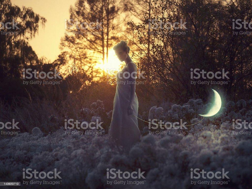 Walking moon stock photo