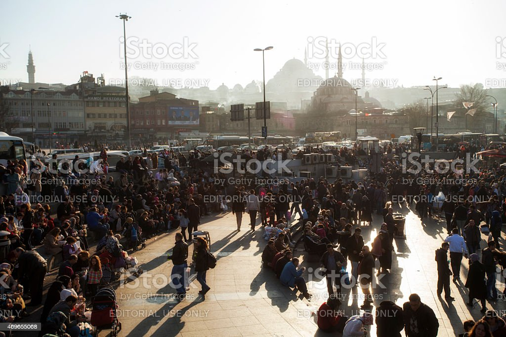 Walking of crowd in Eminou District stock photo
