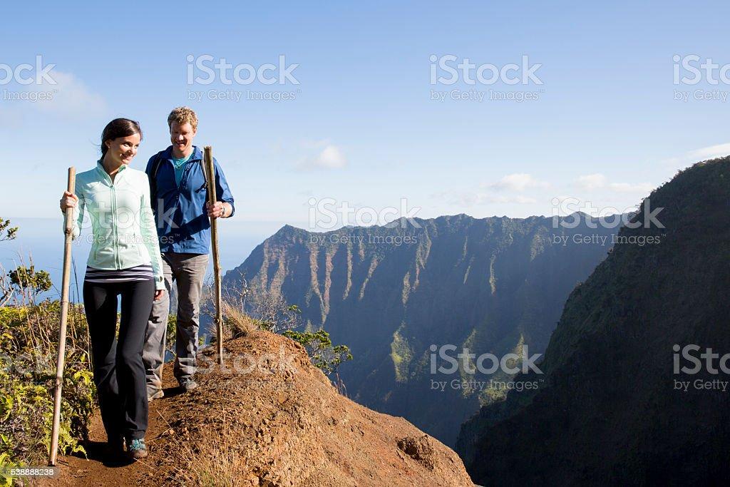 Walking on a Mountain Trail stock photo