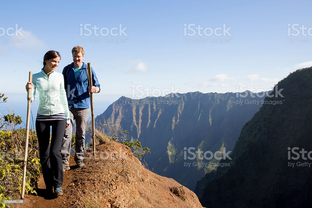 Walking on a Mountain Trail stock photo