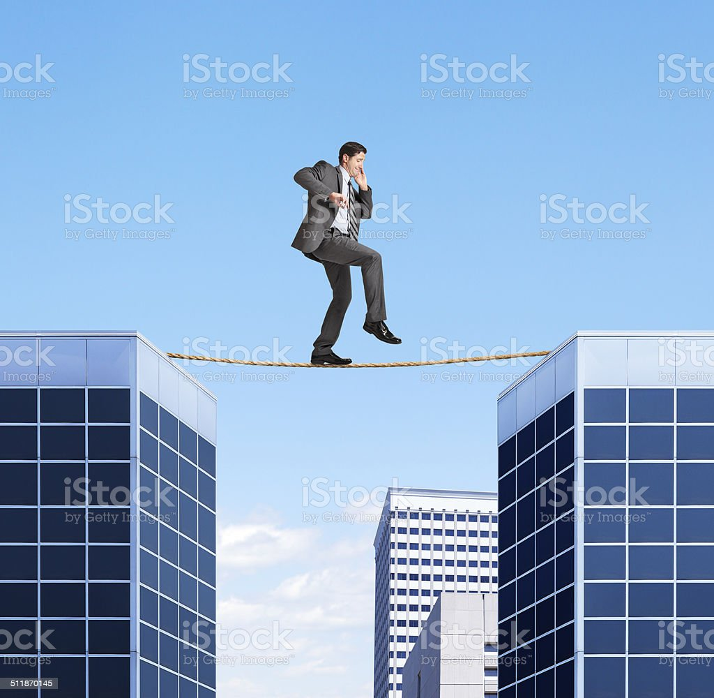 Walking On A Tightrope stock photo