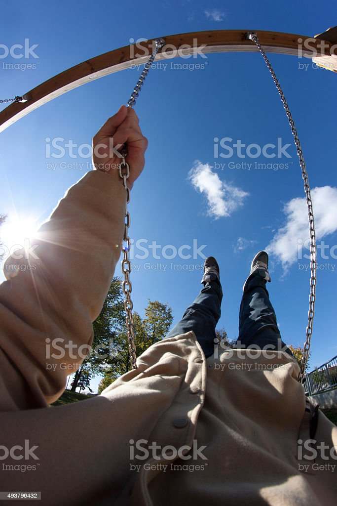 Walking on blue sky stock photo
