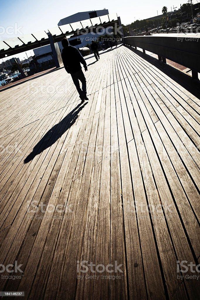 walking on dock stock photo