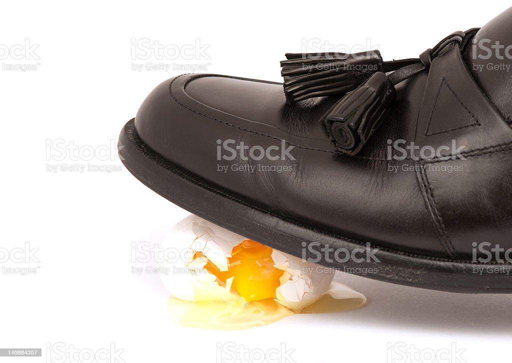 Walking On Egg Shells stock photo