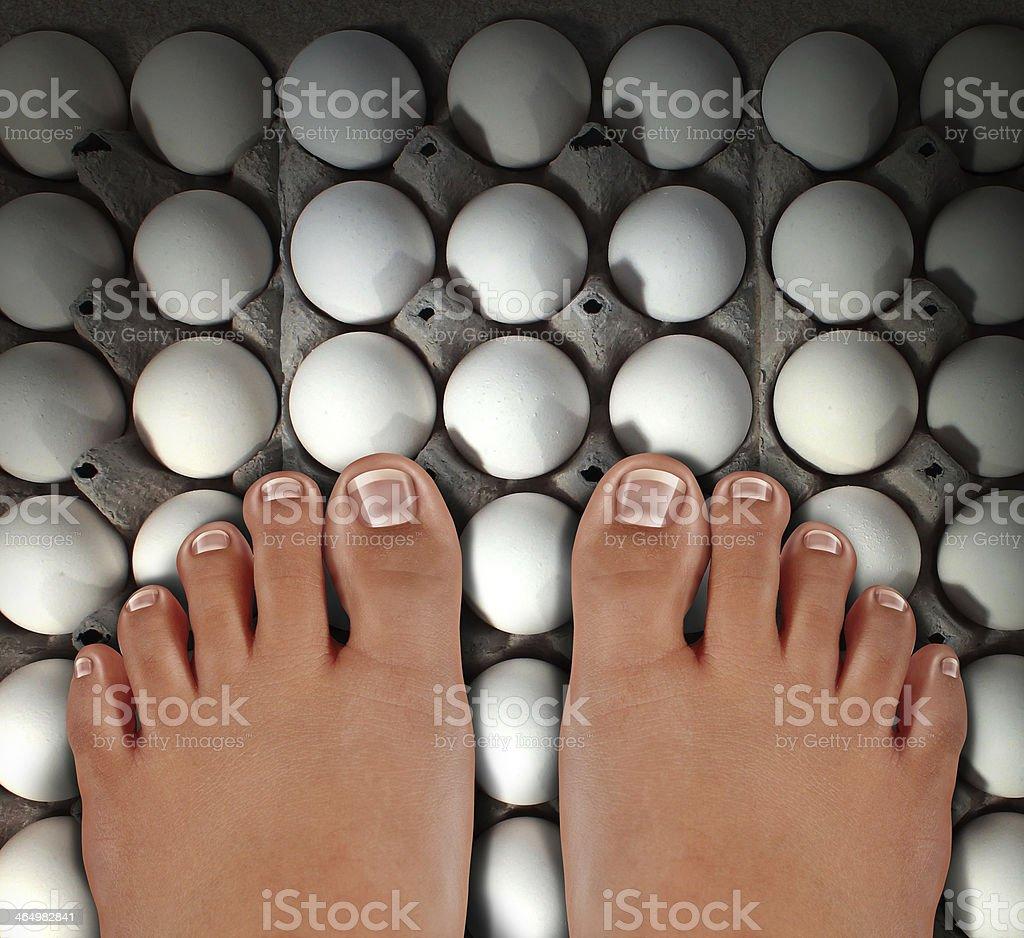 Walking On Eggs stock photo