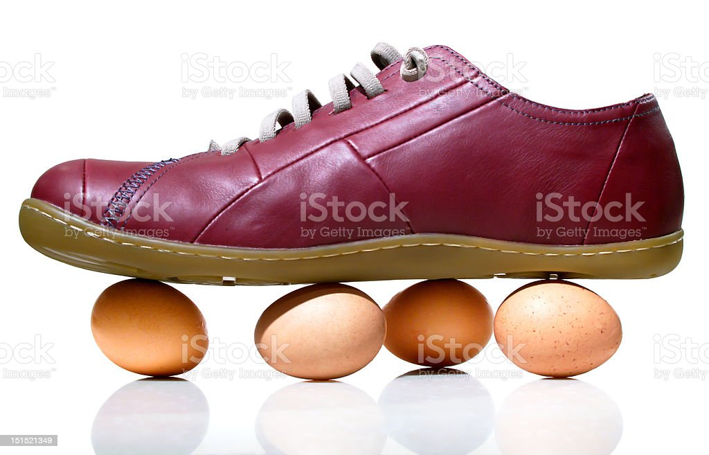 Walking on Eggshells stock photo
