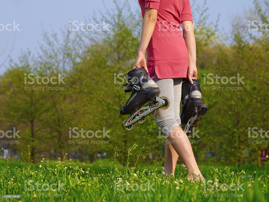 Walking on grass royalty-free stock photo