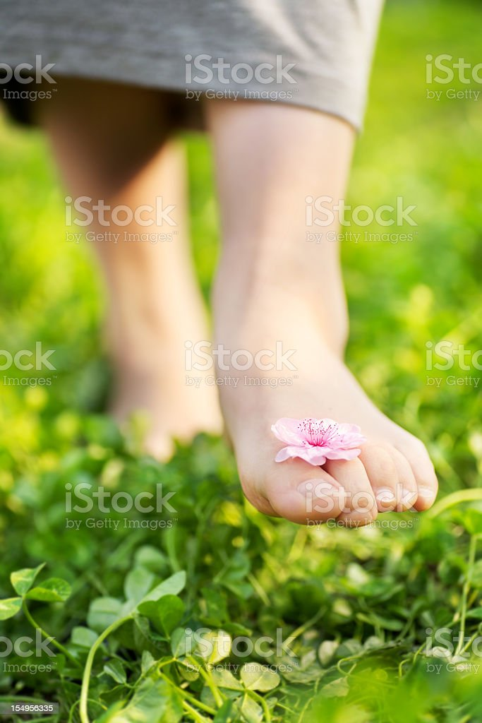 Walking on grass royalty-free stock photo