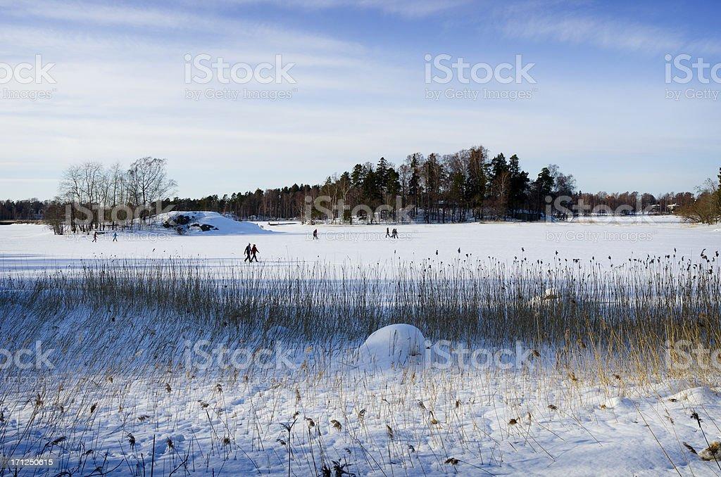 Walking on Ice in Helsinki, Finland royalty-free stock photo