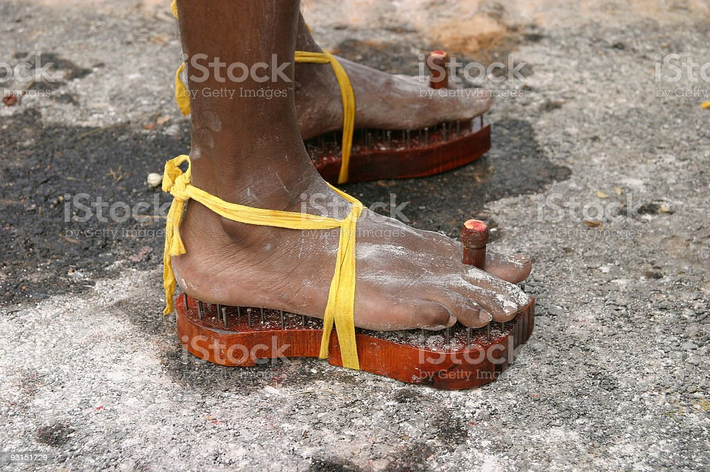 Walking on nails royalty-free stock photo