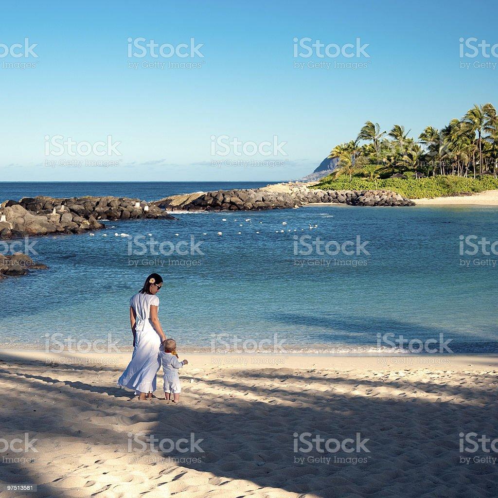 Walking on Oahu beach stock photo