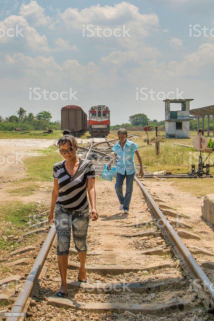 Walking on old railway line, Cuba stock photo