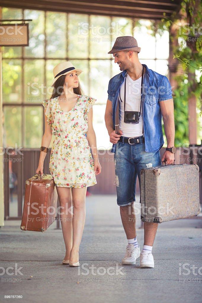 Walking on railway station stock photo