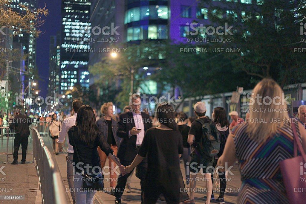walking on street stock photo