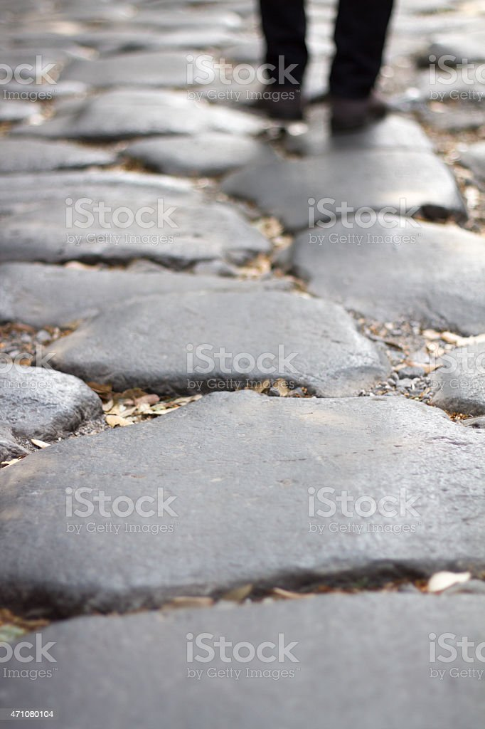 Walking on the Appian Way, Rome stock photo