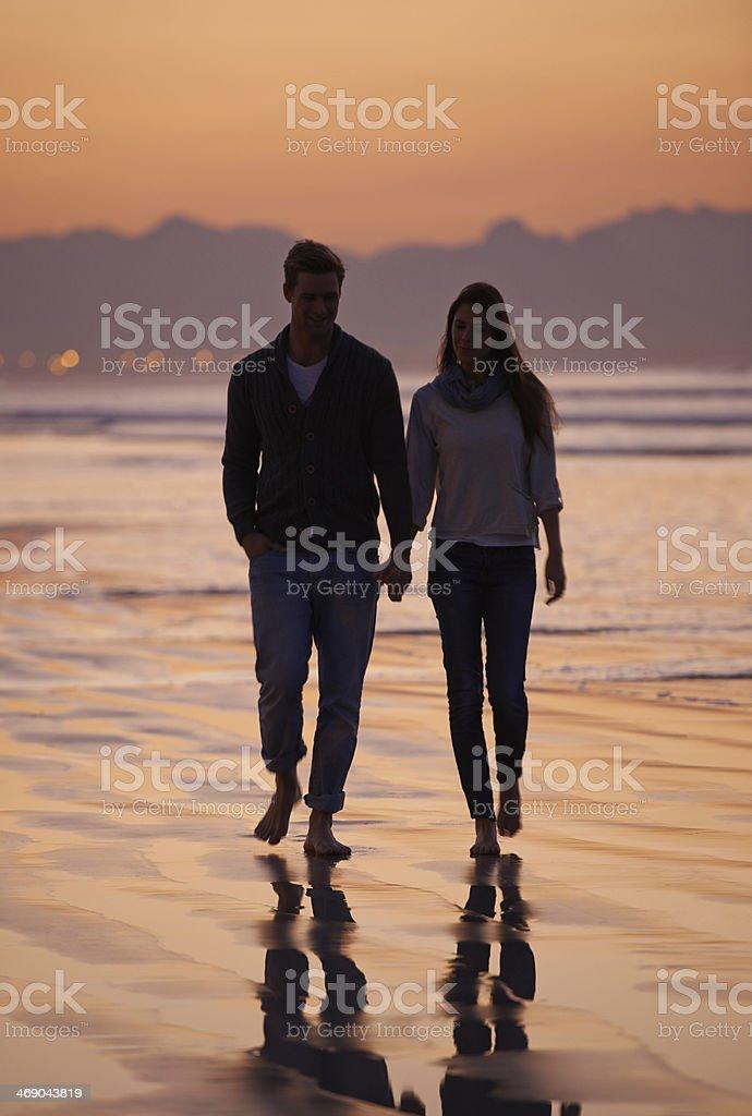 Walking on the beach - Romance stock photo