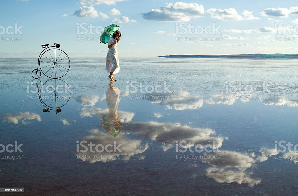 walking on the clouds stock photo