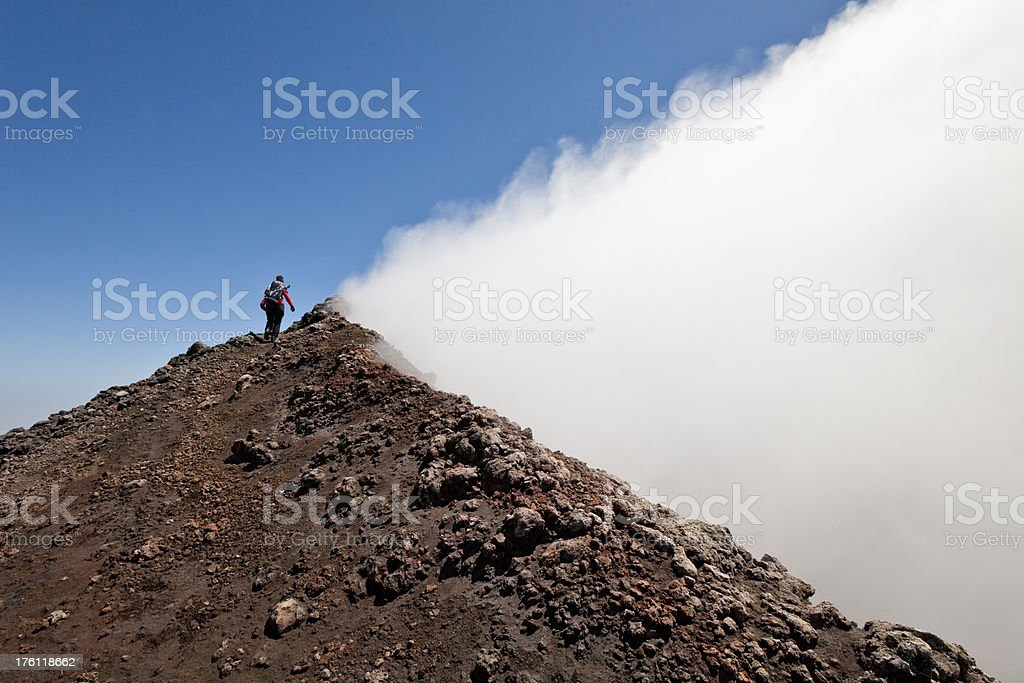 Walking on the edge of hell, Mt. Etna, Sicily, Italy stock photo
