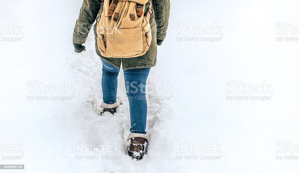 Walking on the first morning snow stock photo