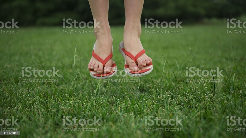 Walking on the grass stock photo