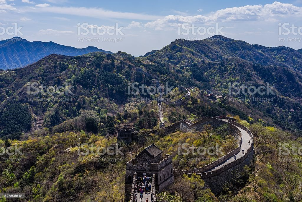 Walking on the great wall near Beijing, China stock photo
