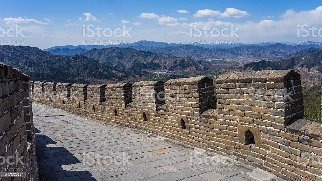 Walking on the great wall near Beijing, China stock photo
