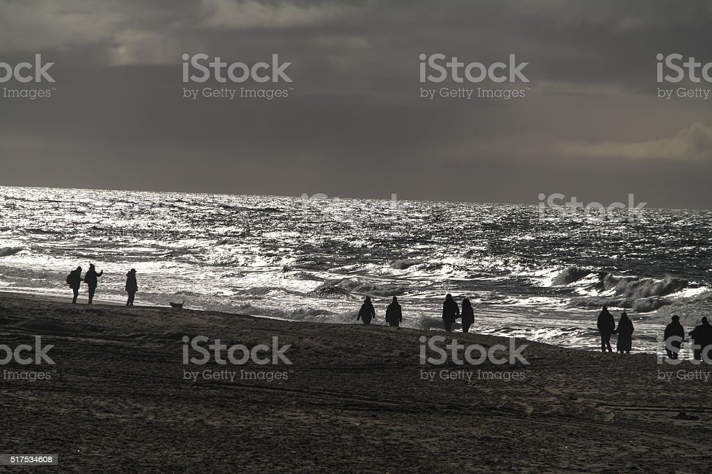 Walking on the island of Sylt stock photo