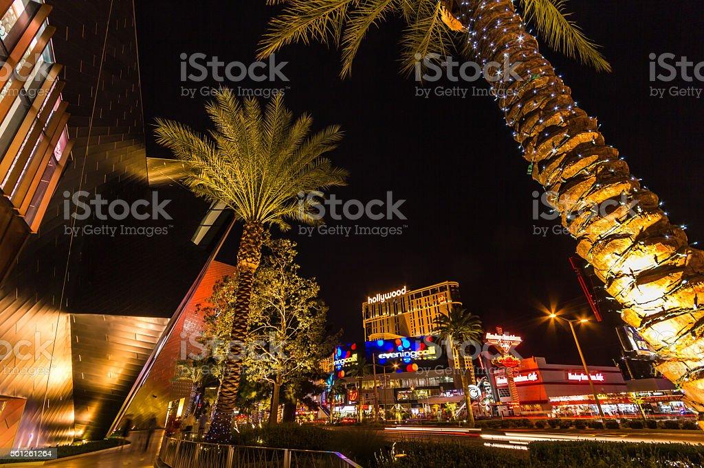 Walking on the Las Vegas strip at night stock photo