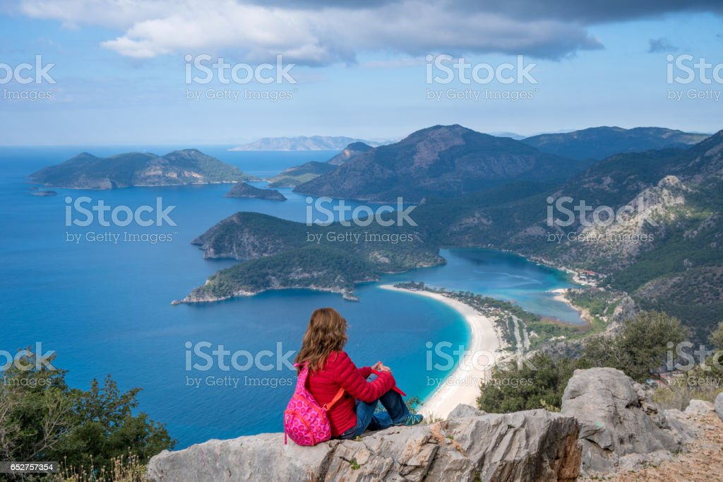 Walking on the Oludeniz. stock photo