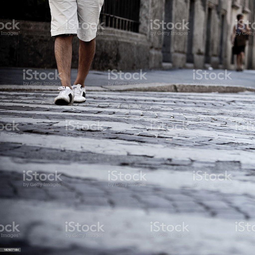 Walking On The Pedestrian Crossing stock photo