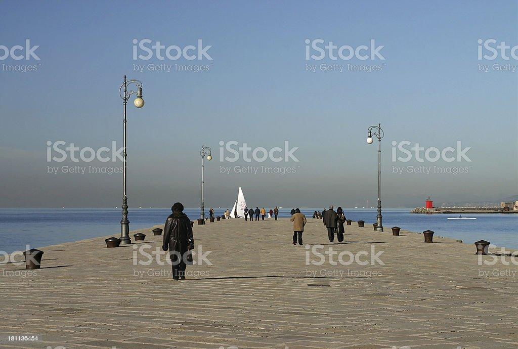 Walking on the pier stock photo
