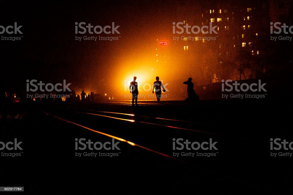 Walking on the rail road track. stock photo