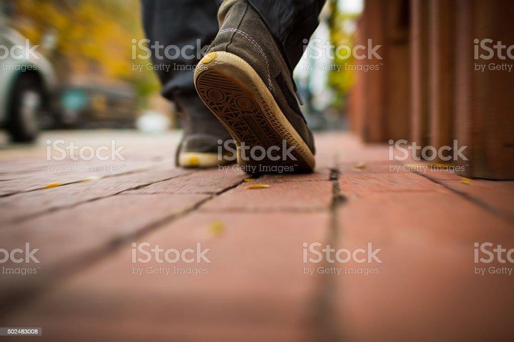 Walking on the road stock photo