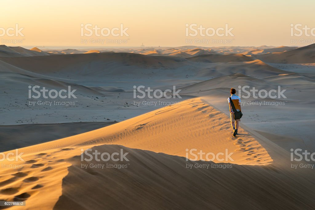 Tourist walking on the scenic dunes of Sossusvlei, Namib desert,...