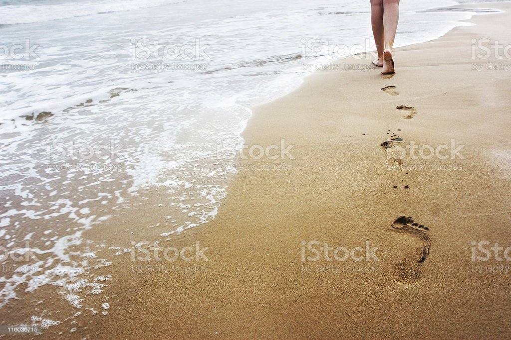 Walking on the sand royalty-free stock photo